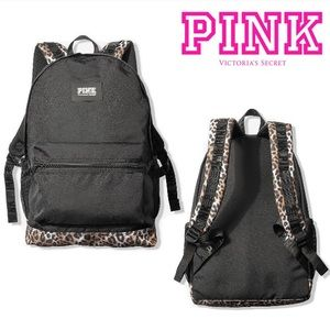 NEW💕VS PINK BLACK LOGO LEOPARD CAMPUS BACKPACK